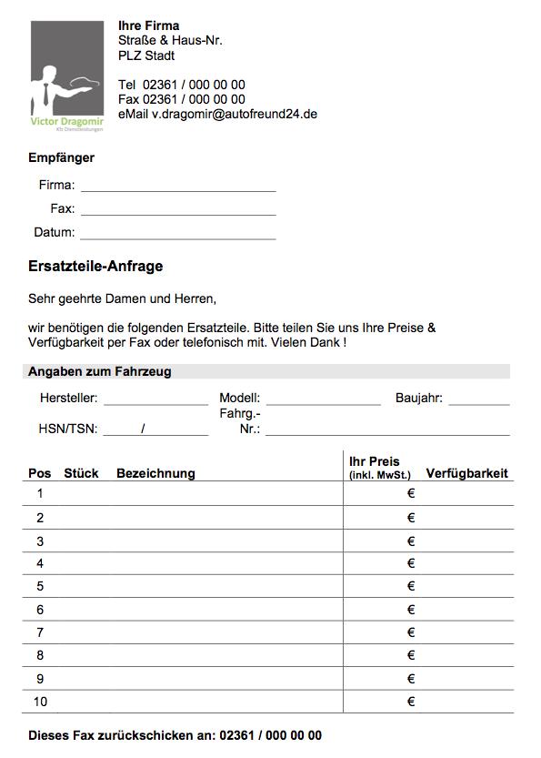 Ersatzteile-Anfrage-Vorlage-Formular-Kostenlos | CONVICTORIUS
