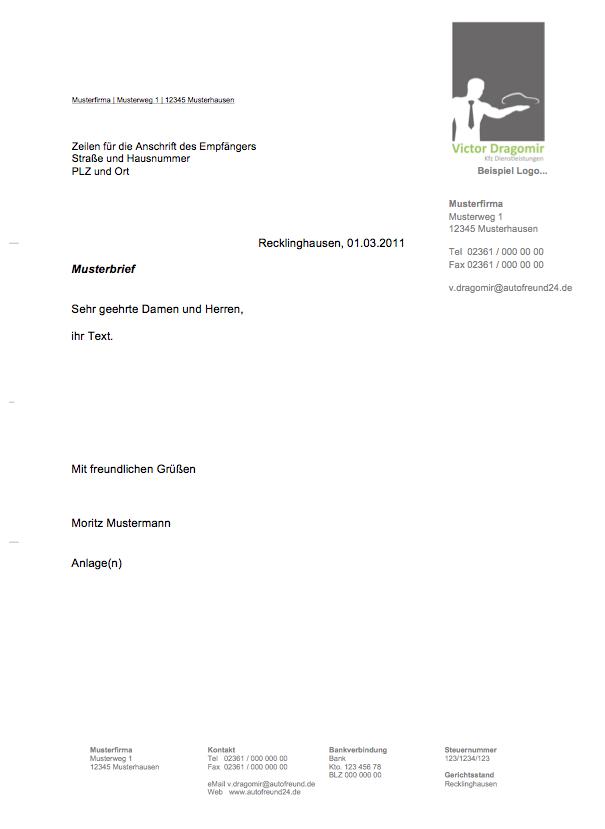 Geschaftsbrief Vorlage Und Muster Deckblatt