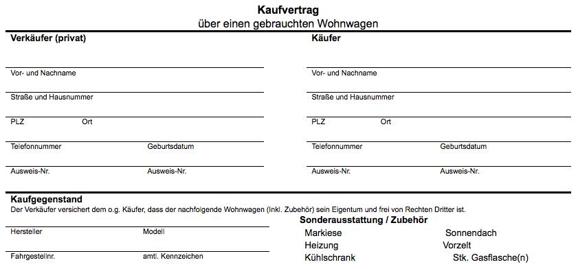 Kostenlos: Kaufvertrag für den Wohnwagen ! | CONVICTORIUS
