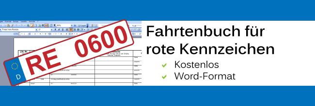 vorlage fahrtenbuch f r rote kennzeichen word pdf