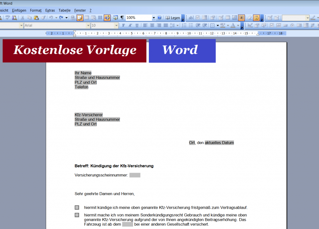 Kündigung Kfz-Versicherung Briefvorlage Word
