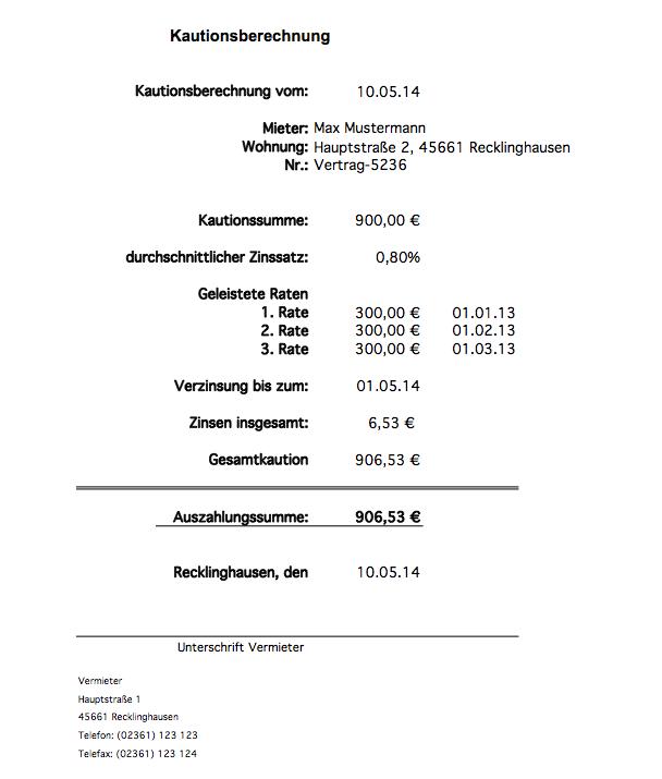 Kautionsberechnung mit Excel Kaution Abrechnung