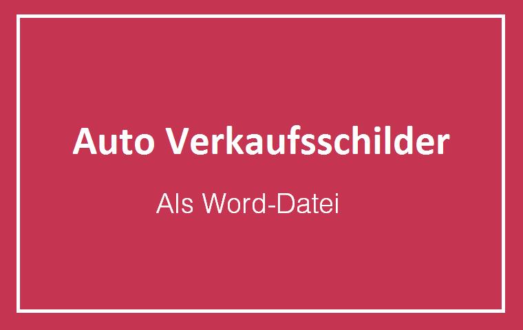 Auto Pkw Verkaufsschild Preisschild kostenlos Word Pdf runterladen