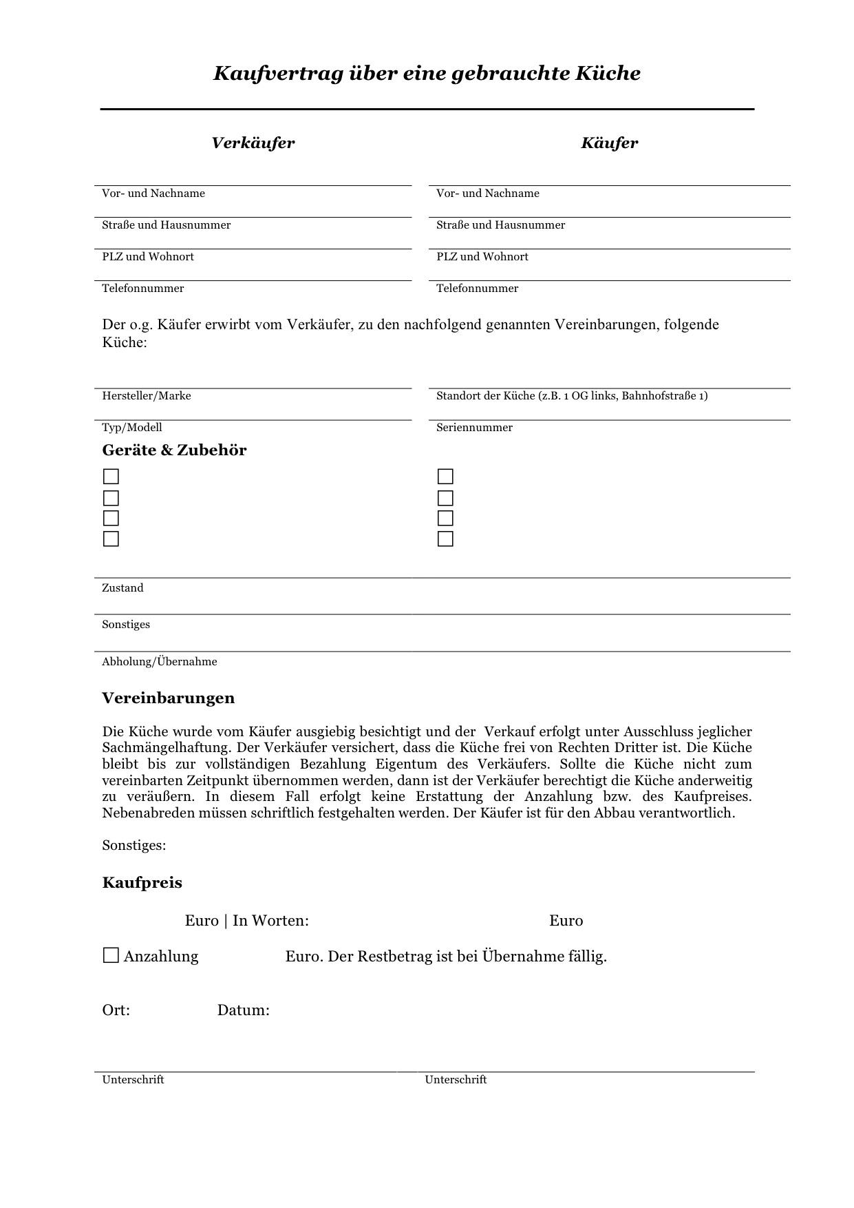 Gratis: Kaufvertrag über gebrauchte Einbauküche/Küche  CONVICTORIUS