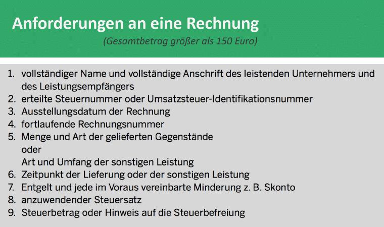 Bild: Anforderungen an einer Rechnung