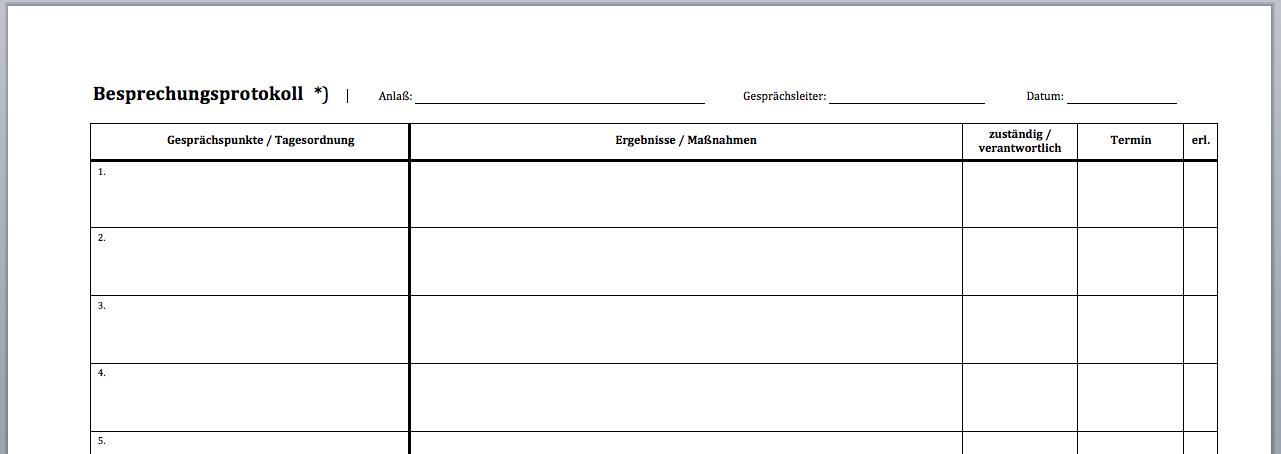 VORDRUCK: Besprechnungsprotokoll & Teilnehmerliste | CONVICTORIUS