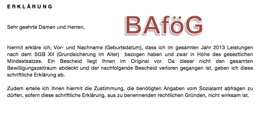 BAföG-Vorlage: Erklärung Mutter/Vater zum Einkommen (Grundsicherung ...