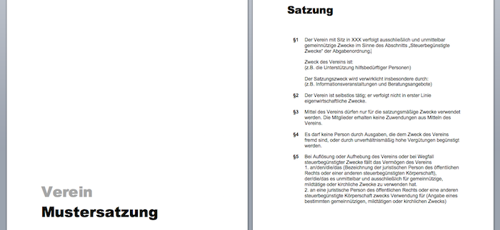 muster vereinssatzung word - Vereinssatzung Muster