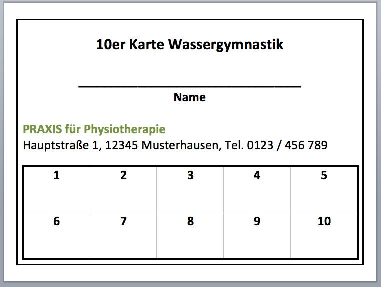 10er Karte Wassergymnastik, kostenlose Vorlage