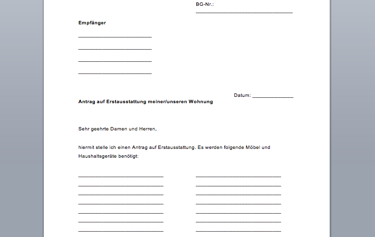 Erstausstattung Formular, Antrag fürs Jobcenter