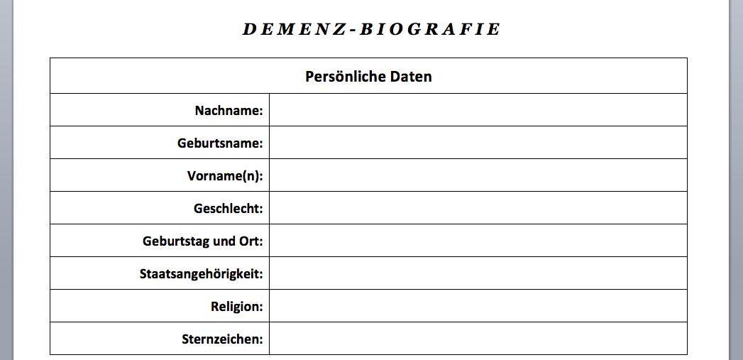 Demenz Biografiebogen Vorlage