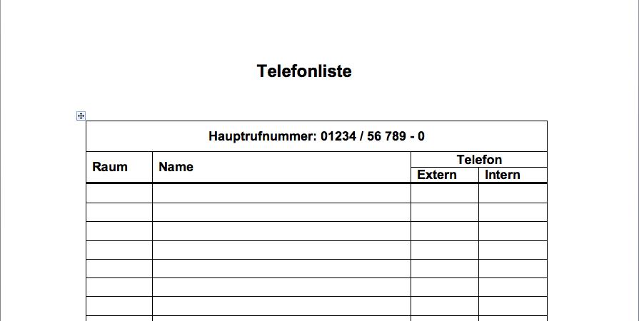 Telefonliste Vorlage Bild