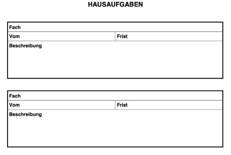 Hausaufgaben Liste Vorlage Word und PDF für die Schule
