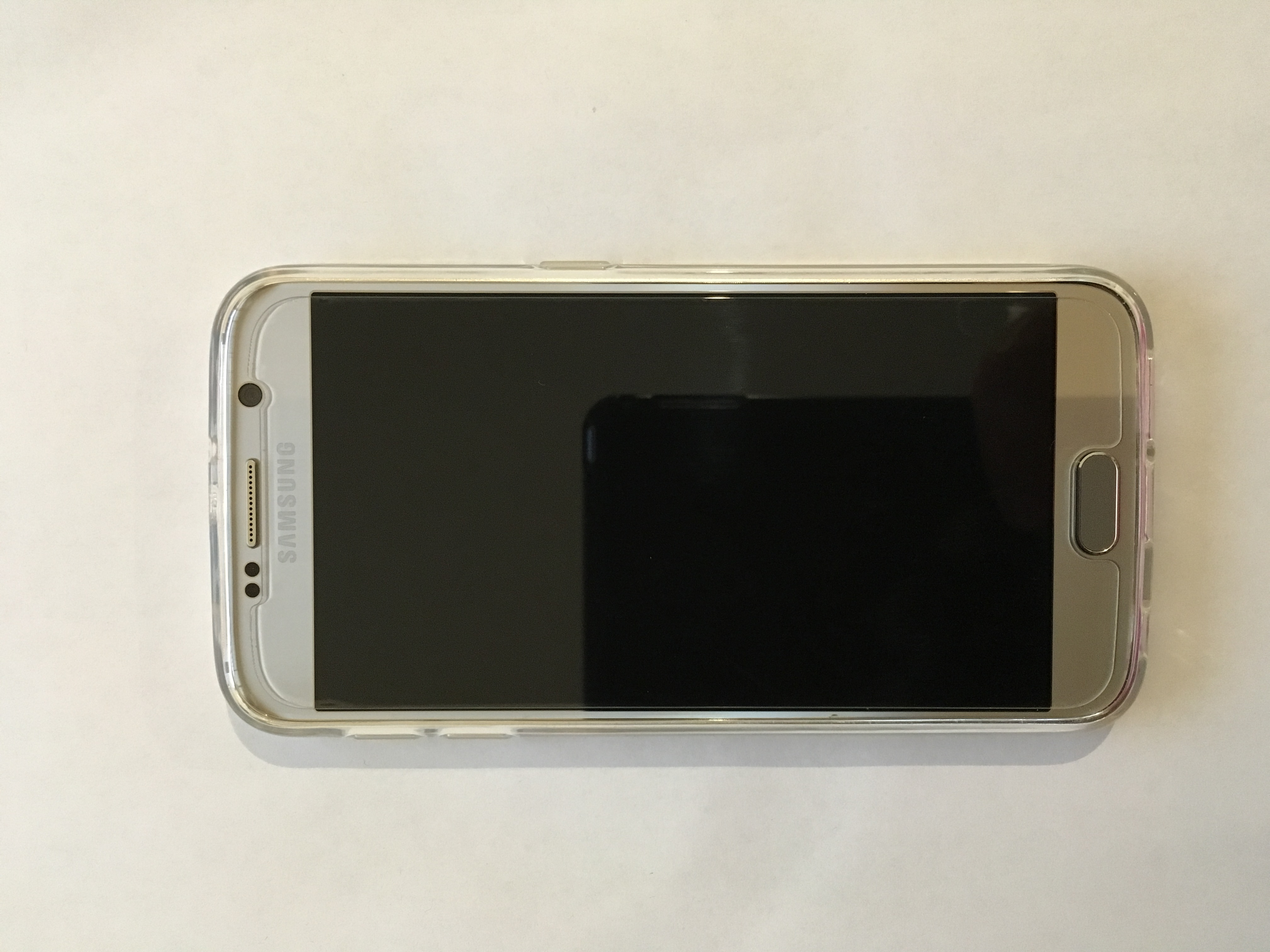 Samsung Galaxy S6 mit Schutzhülle und Schutzglas