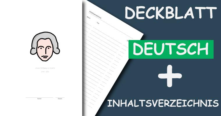 Deckblatt und Inhaltsverzeichnis für das Schulfach Deutsch Screenshot