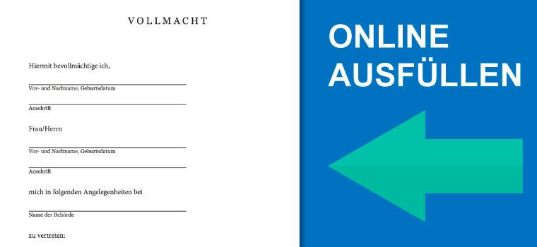 Online Formular Vollmacht Für Vertretung Bei Behörden Pdf
