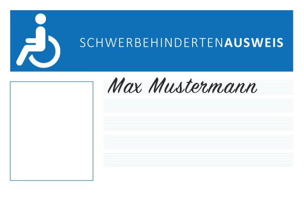 Schwerbehindertenausweis in blau weiß