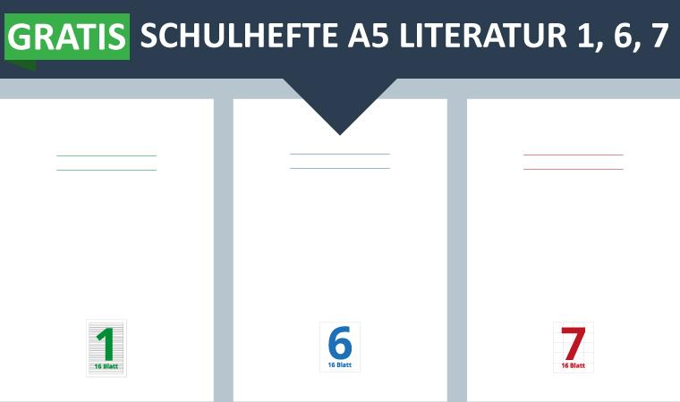 Gratis Schulhefte A5 Literatur 1, 6 und 7 für die Grundschule