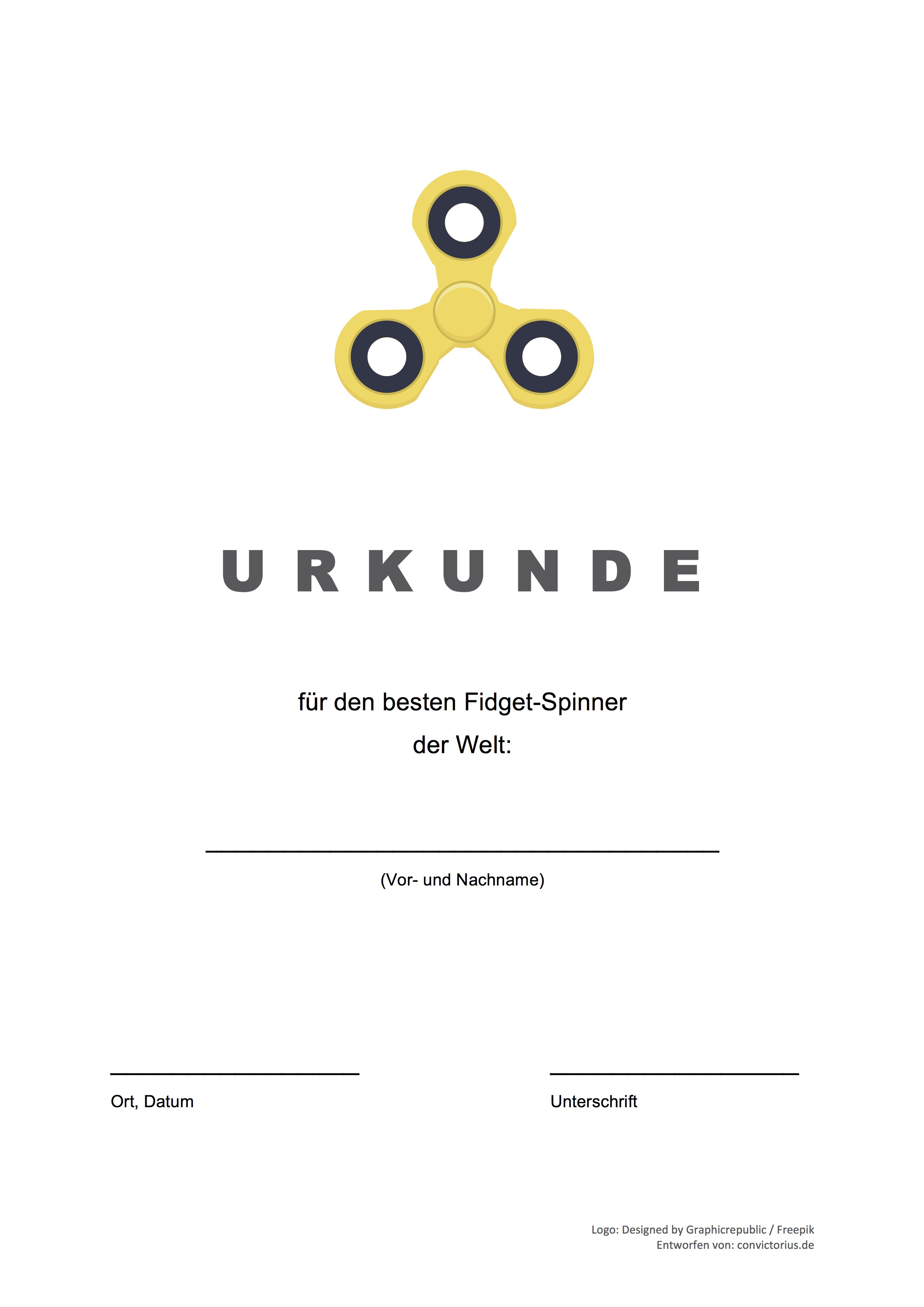 gratis vorlage fidget spinner urkunde word pdf convictorius. Black Bedroom Furniture Sets. Home Design Ideas