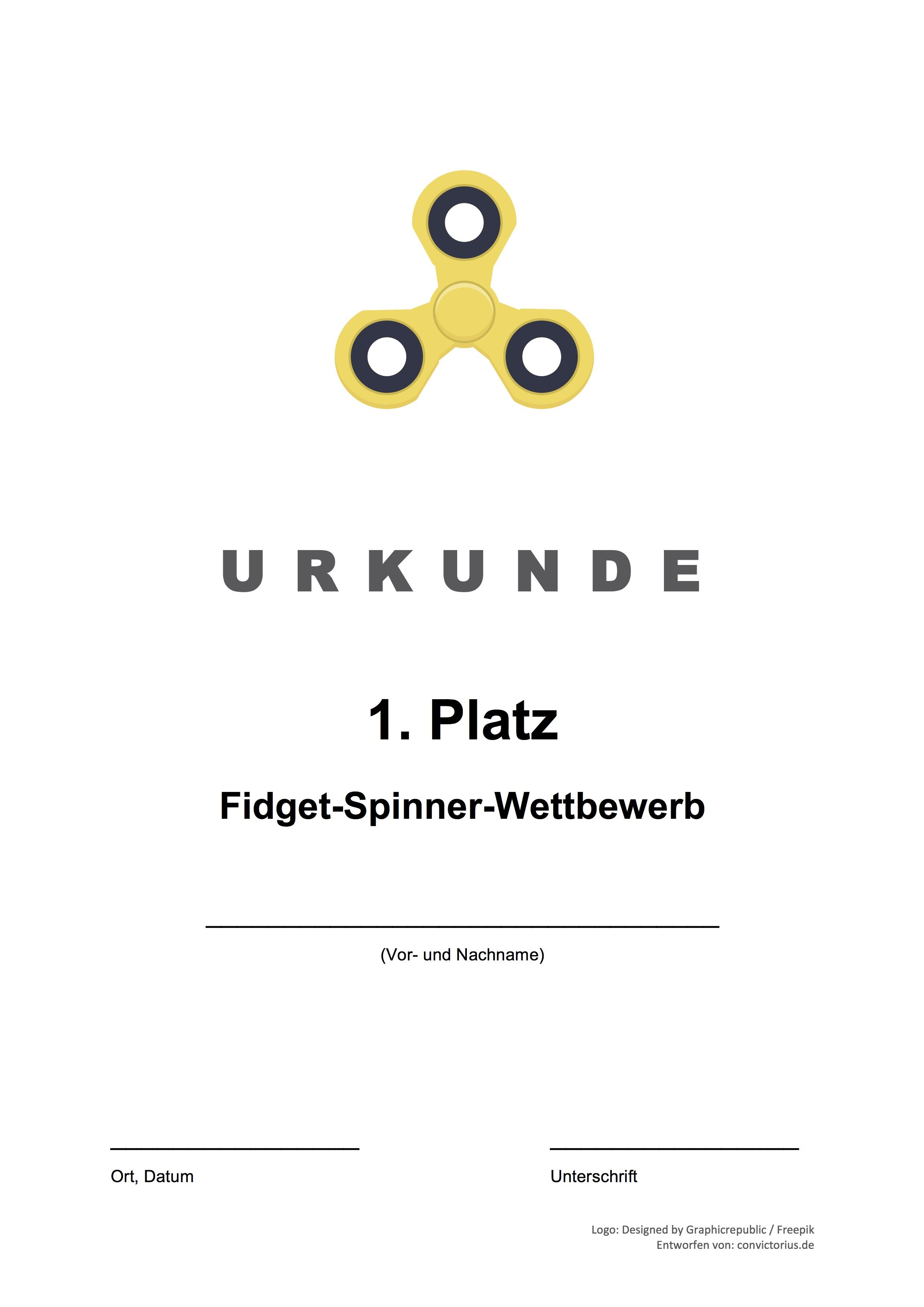 Fidget Spinner Wettbewerb Urkunde Wettbewerb
