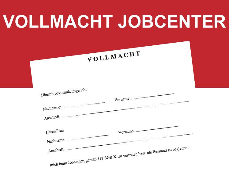 Download Vollmacht Zur Vertretung Beim Jobcenter Convictorius