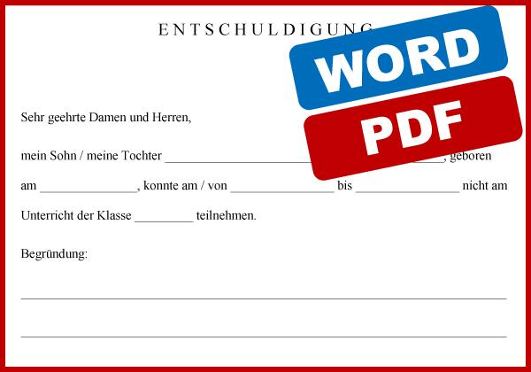 Entschuldigung fuer die Schule Vorlage Word PDF