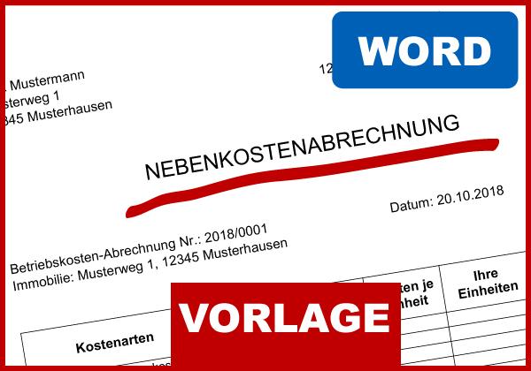 muster nebenkostenabrechnung word - Nebenkostenabrechnung Muster