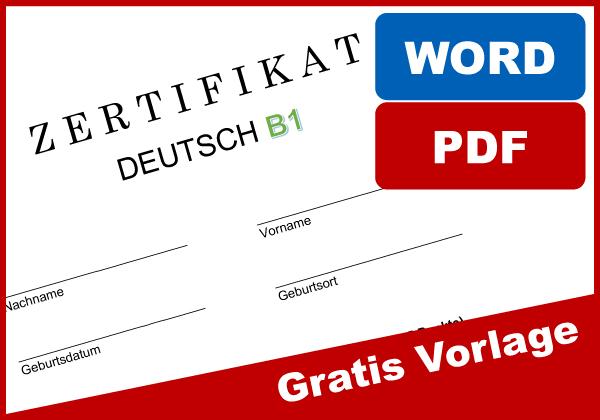 Zertifikat Deutsch B1 Muster kostenlos