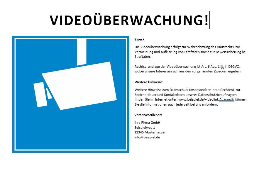 Gratis Videouberwachung Schild Dsgvo Word Convictorius