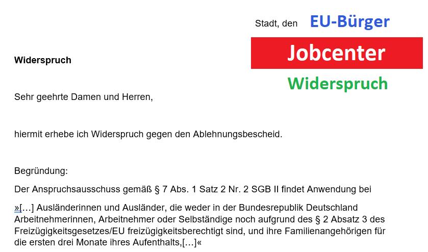 Word Vorlage Widerspruch Jobcenter EU-Bürger