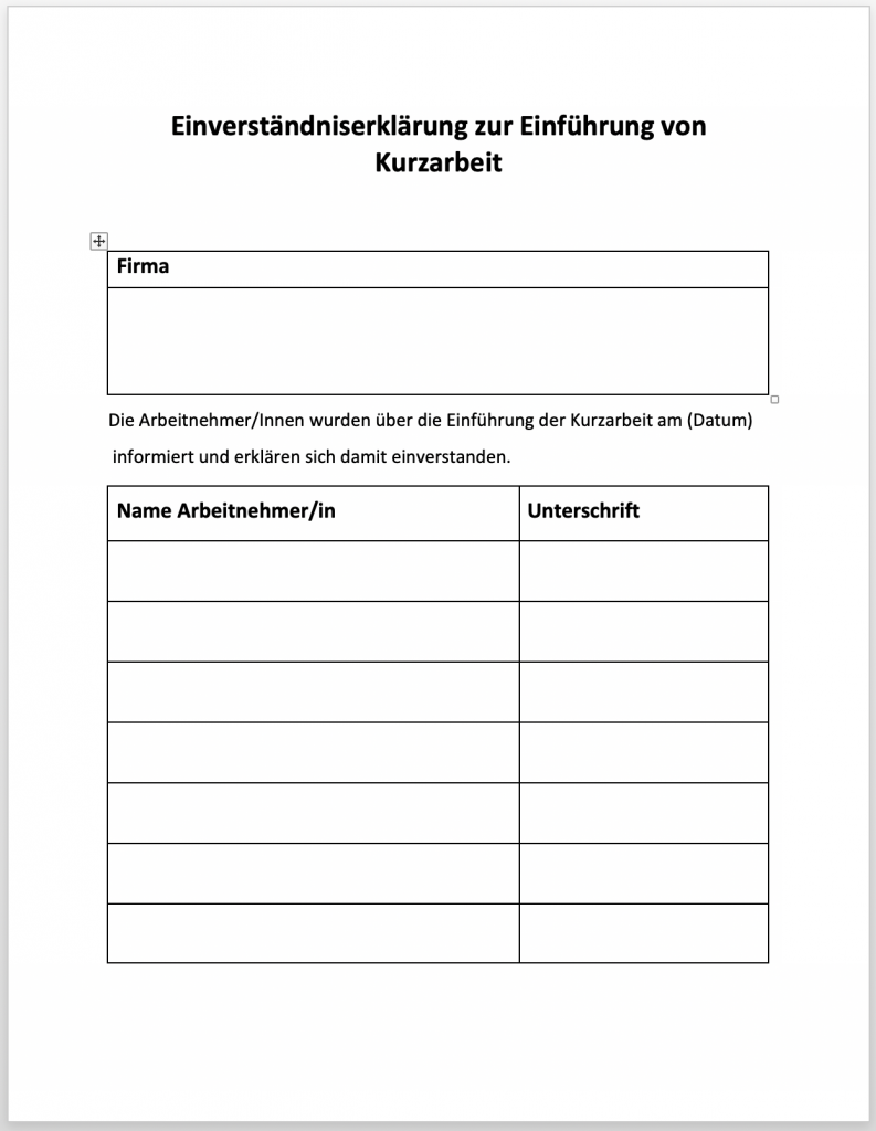 Einverständniserklärung zur Einführung von Kurzarbeit (Coronavirus) Word Datei